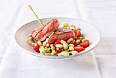 Noisette of lamb with a bean salad (slow cooking)
