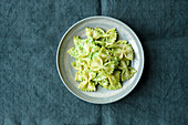 Farfalle with pea and cashew nut pesto