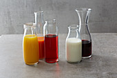 Juices, cold coffee, milk and wine for baking