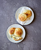 Feta cheese puff pasty pockets made in a hot-air fryer