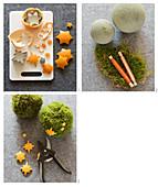Mooskugel mit Orangensternen basten