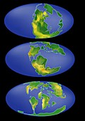 Movement of Earth's continents, illustration