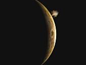 Geyser erupting on Io, illustration