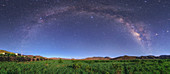 Milky Way over moonlit Tibetan field