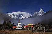Tengboche Monastery and Himalayas by moonlight