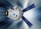 Orion Spacecraft in Earth orbit, illustration