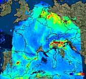 Nitrogen dioxide over Europe, Sentinel-5P satellite image