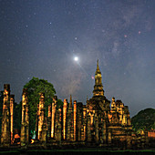 Night sky over Sukhothai ruins, Thailand
