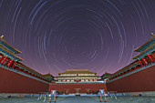 Star trails over Forbidden City, Beijing, China
