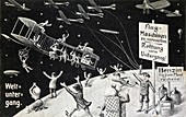 Halley's Comet causing end of the world, 1910 illustration