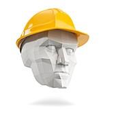 Head in hard hat, illustration