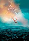 Vintage aeroplane in lighting storm over sea, illustration