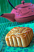 A moon cake, Chinese cake for the Luna festival