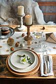 Gedeck mit Schneerose auf weihnachtlich dekoriertem Tisch
