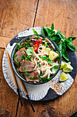 Pho bo (traditional Vietnamese beef and rice noodle soup)
