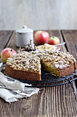 An autumnal pumpkin and apple crumble cake
