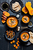 Pumpkin and sweet potato soup with carrots and turmeric