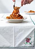Serving Tomato Tagliatelle