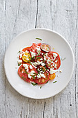 Heritage tomato salad with cheese and basil