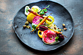 Vegetable salad with chioggia beets and carrots