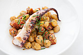 Octopus with chickpea and chorizo salad