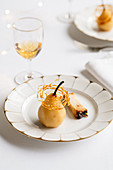 Whisky pears with crispy caramel, and barley malt whisky Occelli cheese