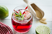 Belgian cherry beer with limes, mint and brown sugar