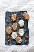 Hazelnut and almond biscuits with icing sugar