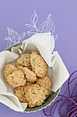 Gluten-free oat biscuits in baking paper