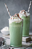 Matcha milkshakes with cream