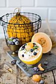 Breakfast Melon Bowl with Yogurt, Blueberries, Blackberries