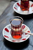 Turkish tea in traditional tulip shaped glasses