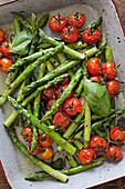 Grüner Spargel und Tomaten mit Basilikum im Bräter