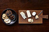 Cheese board with a variety of crackers