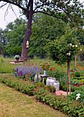 Bauerngarten mit Stammrose und blühendem Mohn