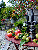 Herbst - Arrangement mit Äpfeln, Kastanien und Walnüssen