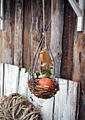 Apfel im selbstgemachten Nest aus Zweigen