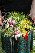 Frau hält Teller mit frisch geernteten Kräutern und Kräuterblüten