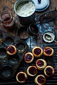 Mini tarts with strawberry jam
