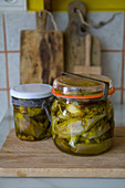 Pickled artichokes in a mason jar