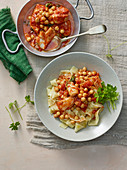 Tagliatelle with chickpeas and stockfish sauce