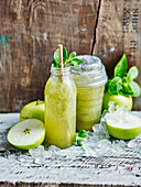 Green tea and apple juice smoothie