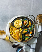 Moules-frites with homemade mayonnaise