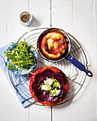 Beetroot tarte tatin with goat's cheese