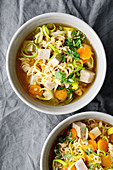 Chinese miso soup with wheat noodles and tofu