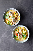 Columbian tuna fish stew with plantains