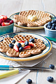 Buckwheat waffles with fresh berries