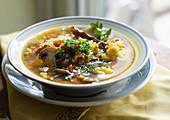 Buckwheat Soup with Cauliflower, Turmeric and Mushrooms