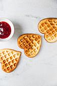 Vanilla cheesecake waffle hearts