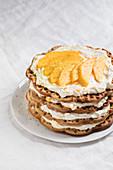 Waffle cake with mango cream